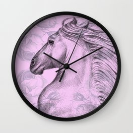 Horse On Pink Roses Wall Clock