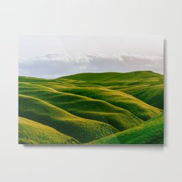 Rolling Green Hills In Heaven With Fluffy White clouds Metal Print