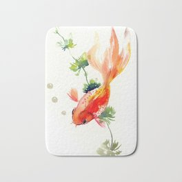 Goldfish, aquarium fish art, design watercolor fish painting Bath Mat