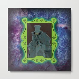 Happy Haunts - Hatbox Ghost Metal Print