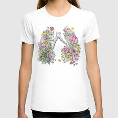 Floral Anatomy Lungs Womens Fitted Tee X-LARGE White