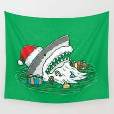 The Santa Shark Wall Tapestry