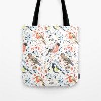 british Tote Bags featuring British Birds by Lauren Thomas Designs