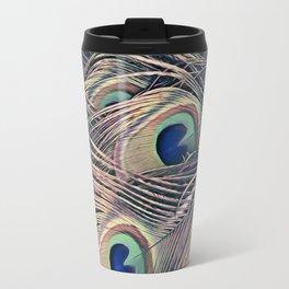 Beautiful Painted Peacock Feathers Travel Mug