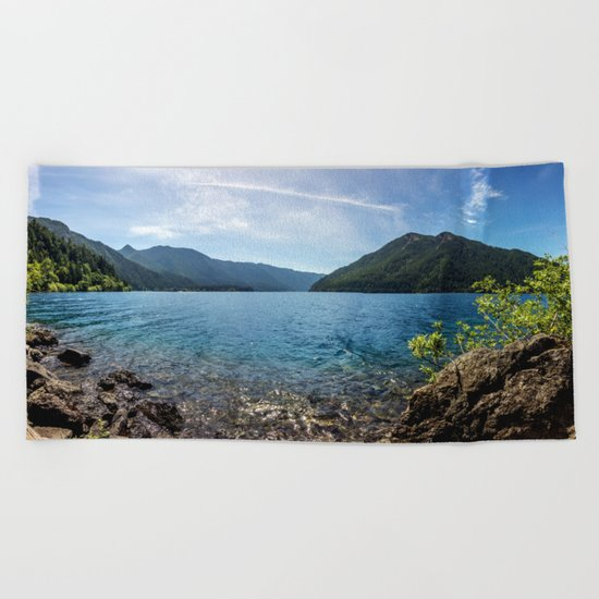 Lake Crescent Olympic Mountain Pano Beach Towel