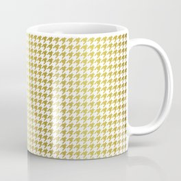 Gold Foil & Bright White Houndstooth Check Pattern Coffee Mug