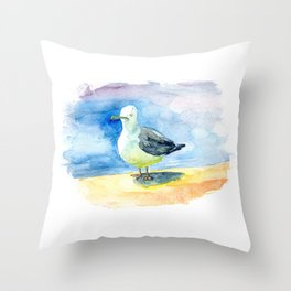 Dumb seagull Throw Pillow