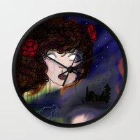 pain Wall Clocks featuring Pain by Anna Ilina