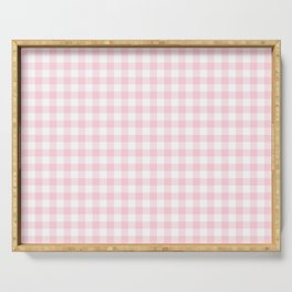 Light Soft Pastel Pink Cowgirl Buffalo Check Plaid Serving Tray