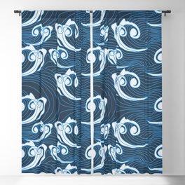 Blue Japanese Waves Seamless Pattern | Ocean Pattern Asian Style Blackout Curtain