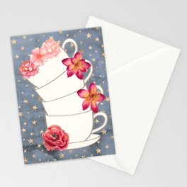Floral Coffee Cups Stationery Cards