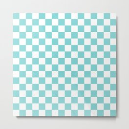 Gingham Pale Turquoise Checked Pattern Metal Print