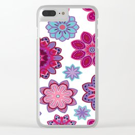 Flower retro pattern. Purple and blue flowers on white background. Clear iPhone Case