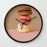 macaron Wall Clocks featuring chocolate macaron by vidikay