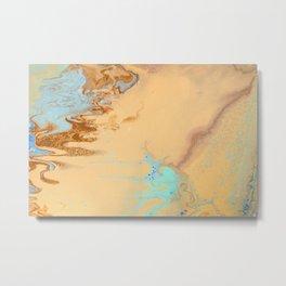 Fluid Art Acrylic Painting, Pour 11, Tan, Brown & Light Blue Blended Colors Metal Print
