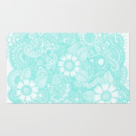 Henna Design - Aqua Rug