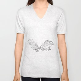 Two Chickens Pecking - Pen and Ink Unisex V-Neck