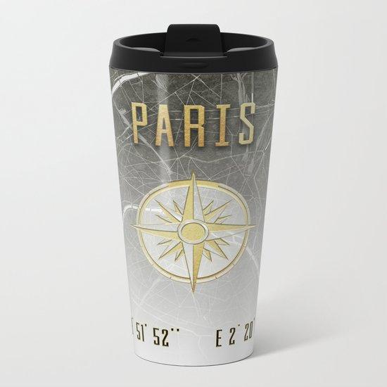 Paris - Vintage Map and Location Metal Travel Mug