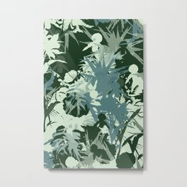 tropical silhouette with orchids and palms tonal Metal Print