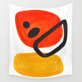 Midcentury Modern Colorful Abstract Pop Art Space Age Fun Bright Orange Yellow Colors Minimalist Wall Tapestry