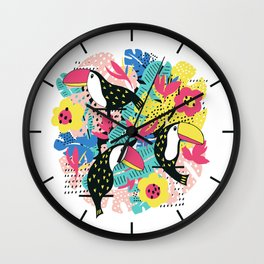 Toucan floral pattern Wall Clock