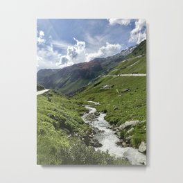 A Valley In The Swiss Alps Metal Print