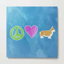 Peace, Love and Corgis Metal Print