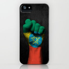 Ethiopian Flag on a Raised Clenched Fist iPhone Case