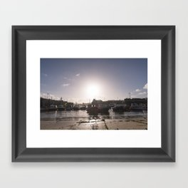 Sunrise over Newquay harbour Framed Art Print