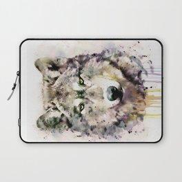 Wolf Head Watercolor Portrait Laptop Sleeve