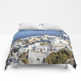 Oia in Santorini, Greece Comforters