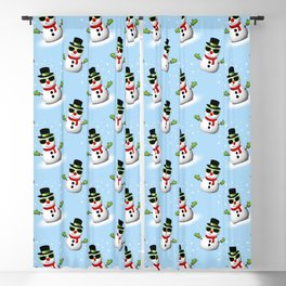 Cool Snowman with Shades and Adorable Smirk Blackout Curtain