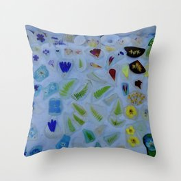 Flowers on Beach Glass 3 Throw Pillow