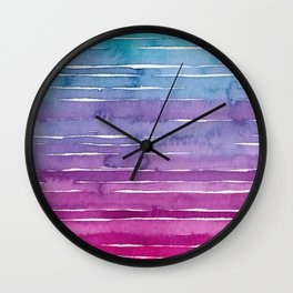 Ombre Watercolor - Turquoise & Magenta Wall Clock