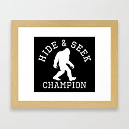 Hide And Seek Champion Funny Bigfoot Silhouette Framed Art Print