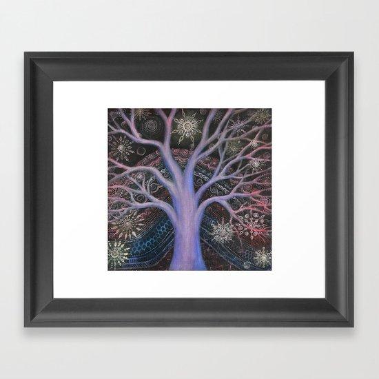 Blue Winter Tree Framed Art Print