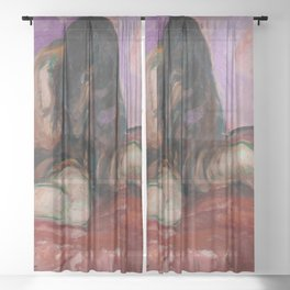 Weeping Nude female figurative portrait still life painting by Edvard Munch bedroom wall decor Sheer Curtain