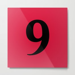 9 (BLACK & CRIMSON NUMBERS) Metal Print