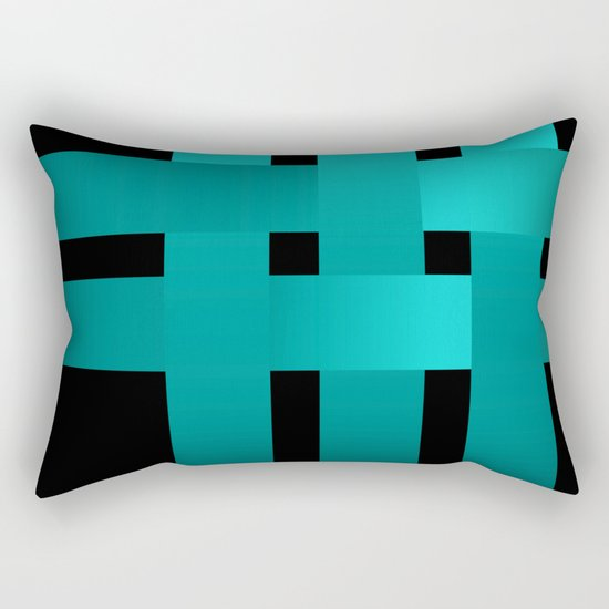 Abstraction .Weave turquoise satin ribbons . Patchwork . Rectangular Pillow
