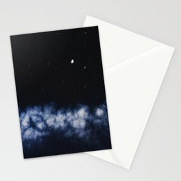Contrail moon on a night sky Stationery Cards
