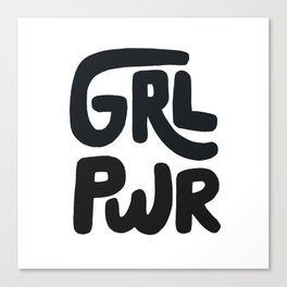 Grl Pwr black and white Canvas Print