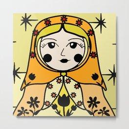 Matryoshka russian doll colorful illustration wall decor - Ana Metal Print