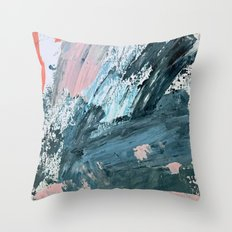Wilmington: a colorful abstract acrylic piece in pinks and blues Throw Pillow