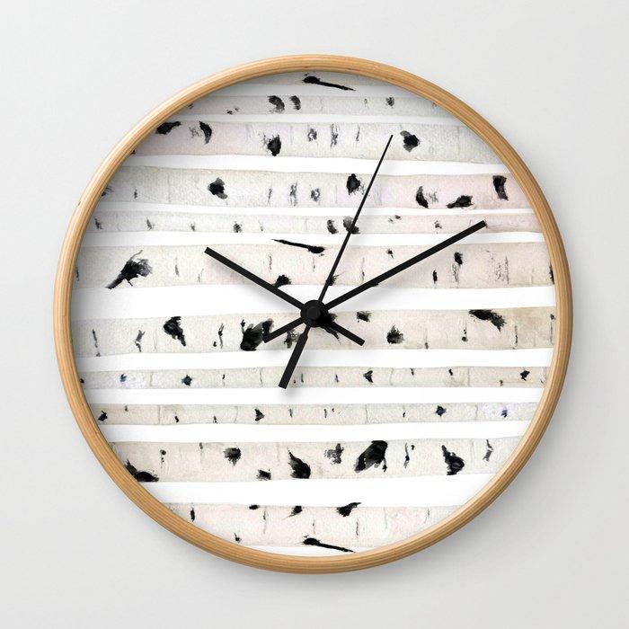 birch watercolor pattern 2018 Wall Clock