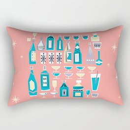 Cocktails And Drinks In Aquas and Pinks Rectangular Pillow