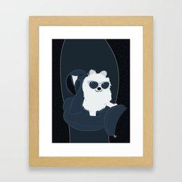 SPACE DOG - DIGITAL DRAWING BLUE PALETTE Framed Art Print