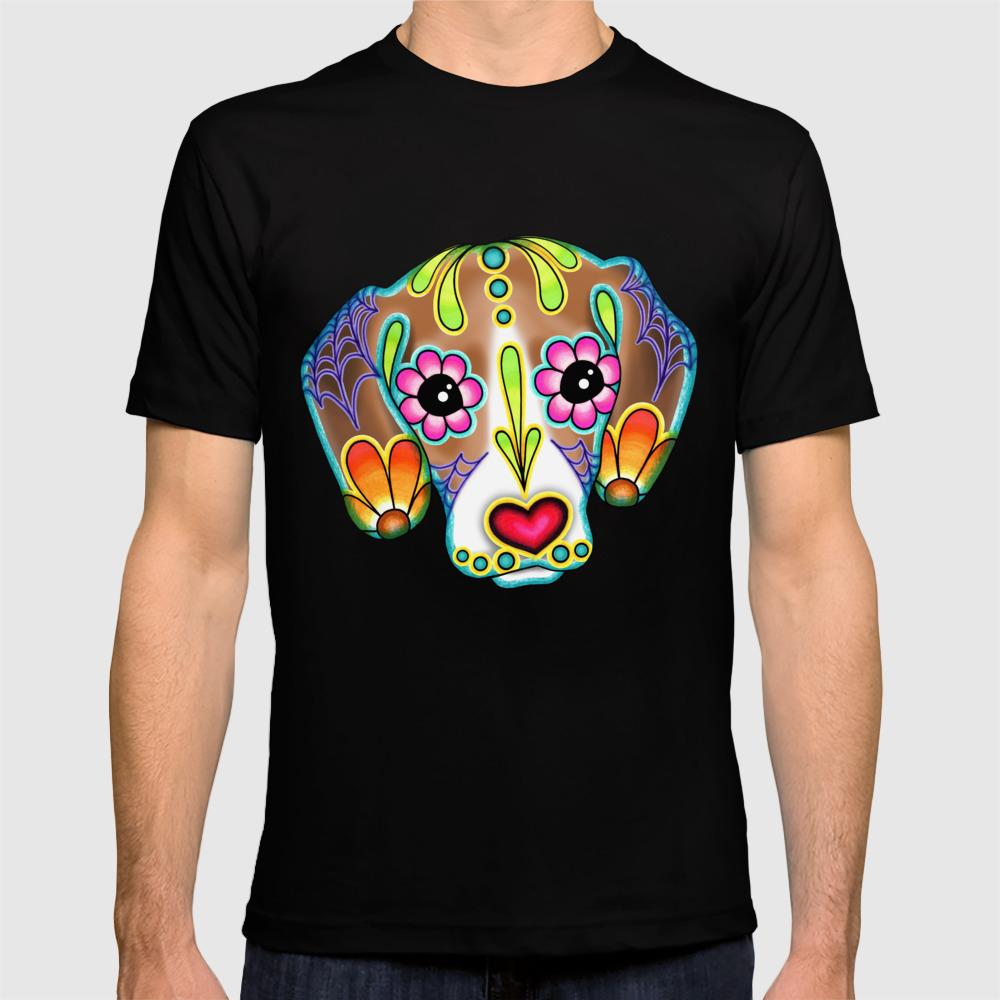 519908ae50 Beagle - Day of the Dead Sugar Skull Dog T-shirt by prettyinink | Society6