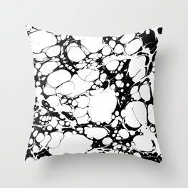 Black and White bubbles Spilled Ink Marbled Paper Throw Pillow