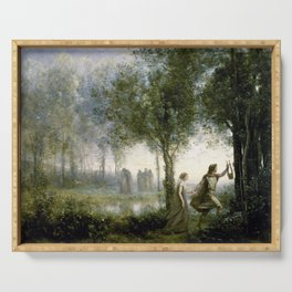 Jean-Baptiste Camille Corot - Orpheus Leading Eurydice From The Underworld Serving Tray