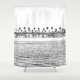 Vintage Newport Beach Print {4 of 4} | Photography Ocean Palm Trees B&W Tropical Summer Sky Shower Curtain